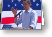 Glenn Mccurdy Greeting Cards - Obama on Track Greeting Card by Glenn McCurdy
