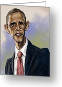 Exaggerated Greeting Cards - Obama Greeting Card by Tyler Auman