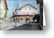 Europe Painting Greeting Cards - Oberammergau Street Greeting Card by Sam Sidders