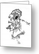 Science Fiction Drawings Greeting Cards - Oberon Greeting Card by Regina Valluzzi