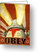 Machine Greeting Cards - OBEY Version 2 Greeting Card by Michael Knight