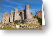 Brick Greeting Cards - Obidos Castle Greeting Card by Carlos Caetano