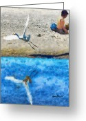 Sandcastle Greeting Cards - Oblivious Greeting Card by Anthony Caruso