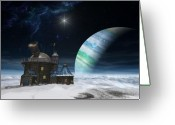 Stars Digital Art Greeting Cards - Observatory Greeting Card by Cynthia Decker