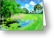 Tropical Golf Course Greeting Cards - Obstacle On the Course Greeting Card by Florene Welebny
