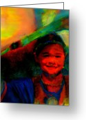 Native Portraits Greeting Cards - Ocankuye Waste Yelo..In a good way Greeting Card by FeatherStone Studio Julie A Miller