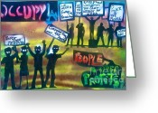 Sit-ins Greeting Cards - Occupiers Unite Greeting Card by Tony B Conscious