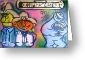 99 Percent Greeting Cards - Occupy Bert Ernie and Cookie Greeting Card by Tony B Conscious