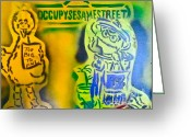 99 Percent Greeting Cards - Occupy Big Bird and Grouch Greeting Card by Tony B Conscious