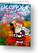 Sit-ins Greeting Cards - Occupy Christmas Greeting Card by Tony B Conscious
