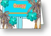 Occupy Mixed Media Greeting Cards - Occupy  Greeting Card by Daniel Goodwin