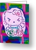 99 Percent Greeting Cards - Occupy Kitty Greeting Card by Tony B Conscious