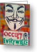 Wall Street Painting Greeting Cards - Occupy Mask Greeting Card by Tony B Conscious