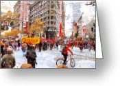 Recession Greeting Cards - Occupy SF Market Street . 7D9733 Greeting Card by Wingsdomain Art and Photography