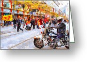Cycles Digital Art Greeting Cards - Occupy SF Market Street . 7D9738 Greeting Card by Wingsdomain Art and Photography