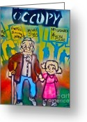 Monopoly Greeting Cards - Occupy The Young and Old Greeting Card by Tony B Conscious