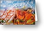 99 Percent Greeting Cards - Occupy X-mas Greeting Card by Tony B Conscious