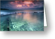 Water Swimming Pool Greeting Cards - Ocean Baths Greeting Card by Yury Prokopenko