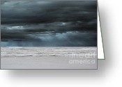 Dark Gray Blue Greeting Cards - Ocean Blue Storm Greeting Card by Andrea Hazel Ihlefeld