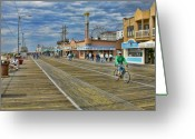 Shops Greeting Cards - Ocean City Boardwalk Greeting Card by Edward Sobuta