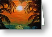Key West Island Greeting Cards - Ocean Kayaker Greeting Card by Bill Cannon