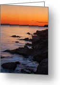 Bass Harbor Greeting Cards - Ocean Light Greeting Card by Steve Gadomski