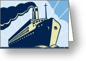 Illustration Greeting Cards - Ocean liner boat Greeting Card by Aloysius Patrimonio