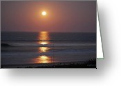 Tides Greeting Cards - Ocean Moon in Pastels Greeting Card by DigiArt Diaries by Vicky Browning