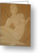 Nudes Sculpture Greeting Cards - OCEAN NYMPH  -  Art Deco Greeting Card by Gunter Erik  Hortz