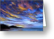 Ocean Landscape Pastels Greeting Cards - Ocean Sky Greeting Card by Susan Jenkins