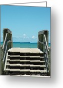 Oceano Greeting Cards - Ocean Stairway Greeting Card by AdSpice Studios