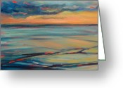Donna Shortt Greeting Cards - Ocean Sunset Greeting Card by Donna Shortt