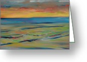 Donna Shortt Greeting Cards - Ocean Sunset II Greeting Card by Donna Shortt