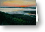 South Carolina Beach Painting Greeting Cards - Ocean Sunset No.1 Greeting Card by Erik Schutzman