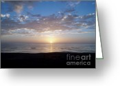 Posters Greeting Cards - Ocean Sunset  Greeting Card by The Kepharts 