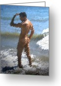 Nudes Males Greeting Cards - Ocean Thoughts Greeting Card by Kurt Van Wagner