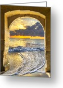 Tunnels Greeting Cards - Ocean View Greeting Card by Debra and Dave Vanderlaan