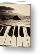 Pianos Greeting Cards - Ocean washing over keyboard Greeting Card by Garry Gay