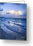 Cloudscape Greeting Cards - Ocean waves on beach at dusk Greeting Card by Elena Elisseeva