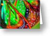 Bletila Striata Greeting Cards - Oceanic Abstract Painting Greeting Card by Don  Wright