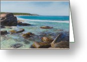 West Pastels Greeting Cards - Oceans Edge Greeting Card by Gary Leathendale