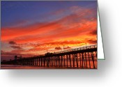 San Diego California Greeting Cards - Oceanside Pier Sunset Greeting Card by Larry Marshall
