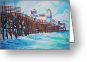 Teresa Dominici Greeting Cards - Oceanside Pier Greeting Card by Teresa Dominici