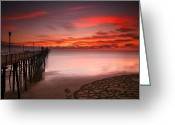 Surf Photography Greeting Cards - Oceanside Sunset 11 Greeting Card by Larry Marshall