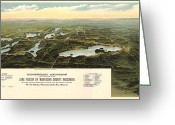 Vintage Map Digital Art Greeting Cards - Oconomowoc Wisconsin 1890 Greeting Card by Donna Leach
