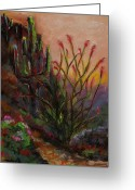Sunset Drawings Greeting Cards - Ocotillo At Sunset Greeting Card by Frances Marino