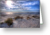 Acrylic Framed Greeting Cards - Ocracoke Winter Dunes II Greeting Card by Dan Carmichael