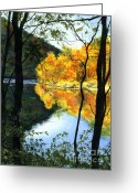 Barbara Painting Greeting Cards - October At Ohiopyle Greeting Card by Barbara Jewell
