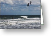 Black Kites Greeting Cards - October Beach Kite Surfer Greeting Card by Susanne Van Hulst