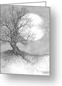 Grey Drawings Greeting Cards - October Moon Greeting Card by Adam Zebediah Joseph